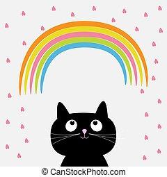 Rainbow and pink heart rain with cute cartoon cat. Flat design style.