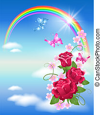 Rainbow and roses