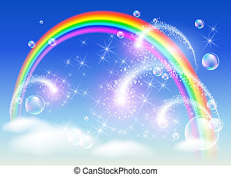 Rainbow and salute - Rainbow in the sky and salute