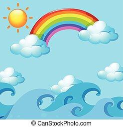 Rainbow and sun over the ocean
