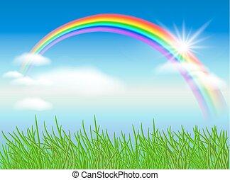 Rainbow and sun - Rainbow, sun and blue sky