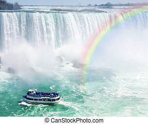 Rainbow and tourist boat at Niagara Falls - Spectacular...