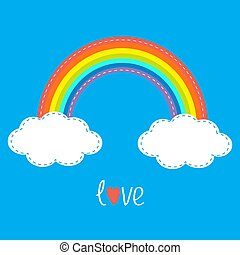 Rainbow and two clouds in the sky. Dash line. Love card. Flat design style.