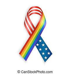 Rainbow and USA Ribbons. Isolated on white with transparent shadow.