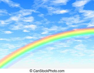 Rainbow arc - Background illustration of a rainbow in a blue...