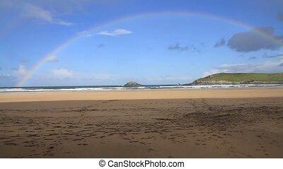 Rainbow at beach Crantock Cornwall - Rainbow at Crantock ...