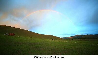 Rainbow at Majestic Mongolian landscape