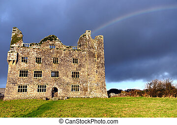 Rainbow at ruins of Leamaneh Castle