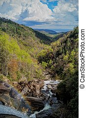 Rainbow at Whitewater Falls - Whitewater Falls, North...