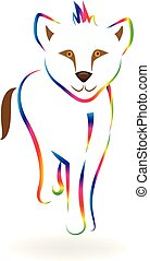 Rainbow baby lion line art vector symbol