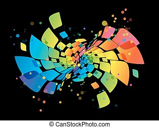 Rainbow background, abstract multicolored design element on black