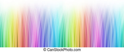 wide banner of bright linear rainbow colour fading to white
