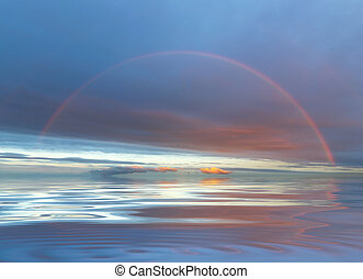 rainbow background under the sea in the evening.