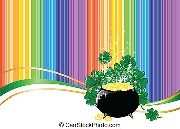 rainbow background with a pot of coins - Leprechaun pot of...