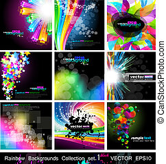 Rainbow Backgrounds Collection - Set 1 Black Version - ...
