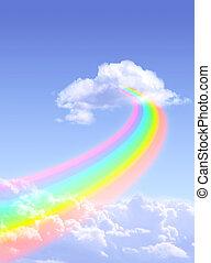 Rainbow - Beautiful bright rainbow in the blue sky