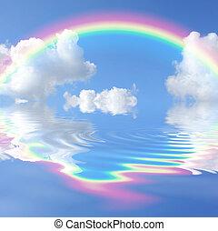 Rainbow Beauty - Rainbow fantasy abstract with reflection...