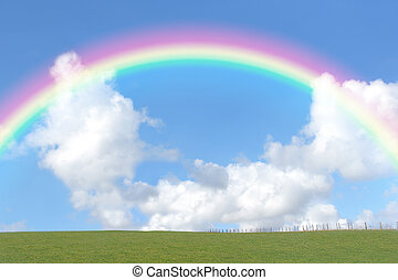 Rainbow Beauty - Rural landscape with a green field set ...