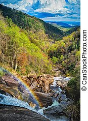 Rainbow Before the Storm - Whitewater Falls, North Carolina,...