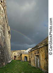Rainbow between walls - View of the Fortress of Nossa ...