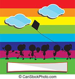 rainbow boys and girls silhouettes