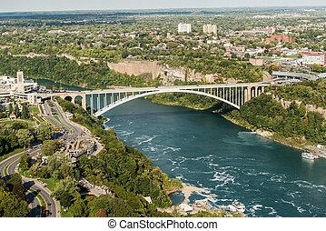 Rainbow bridge at Niagara Falls - Niagara Falls, New York,...