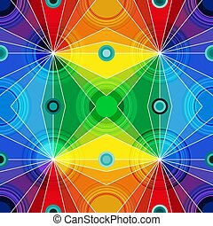 Rainbow bright geometric seamless pattern with circles and rays.