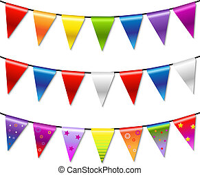 Rainbow Bunting Banner Garland, Isolated On White Background...