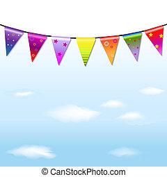 Rainbow Bunting Banner Garland With Sky - Rainbow Bunting ...