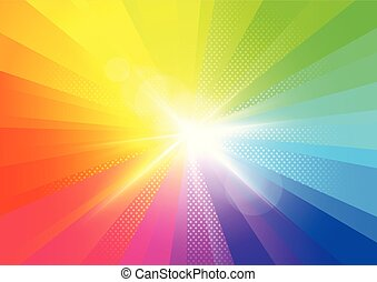 Rainbow Burst Rays Background
