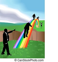 Conceptual piece. Business people striving to reach a ?Pot of Gold at the end of the Rainbow?. No meshes used. On separate layers for easy editing.