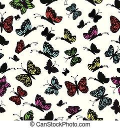 Rainbow butterflies seamless pattern background.