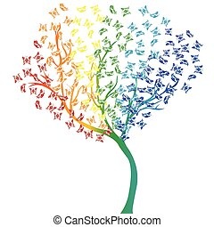 Rainbow butterflies tree