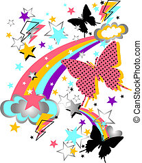 rainbow, butterfly and star funny artwork