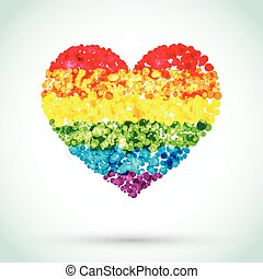 Background Rainbow Heart from bubbles. Gay vector symbol or LGBT heart sign isolated. Gay culture symbol. Mosaic dots heart on a white background.