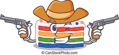 Rainbow cake Cowboy cartoon concept having guns