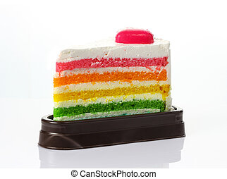 Rainbow cake isolate on white