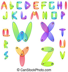 Rainbow candy alphabet with multicolored jems