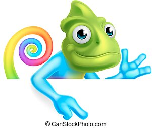 Rainbow Cartoon Chameleon Pointing