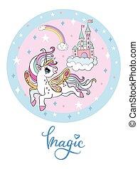Rainbow cartoon flying unicorn and sky castle vector