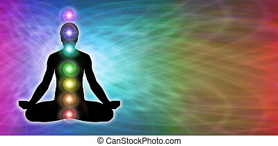 Rainbow matrix colored background with male silhouette in lotus position on left hand side with seven chakra vortexes positioned centrally