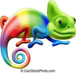 An illustration of a cartoon rainbow coloured chameleon