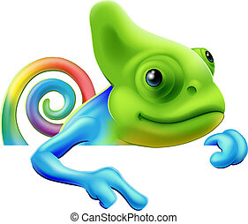 Rainbow chameleon pointing down - An illustration of a cute...