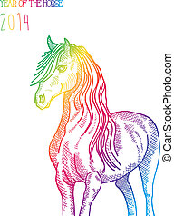 Rainbow Chinese New Year of horse 2014 isolated - Happy...