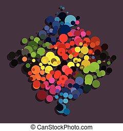 Rainbow circle background diamond shape