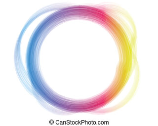 Rainbow Circle Border Brush Effect. - Vector - Rainbow...