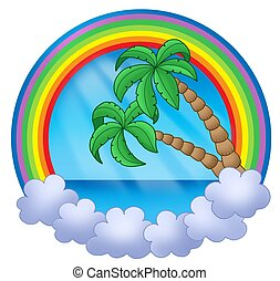 Rainbow circle with palm trees - color illustration.