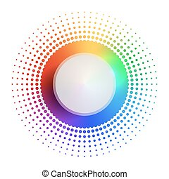 Rainbow circular banner with  halftone and place for text