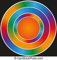 Rainbow circular glitter frame on a black background.
