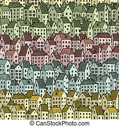 Rainbow City seamless pattern